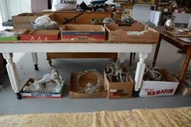 Farm Table #2 and antique crystal lamps and lamp parts