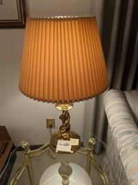Designer polished brass lamp