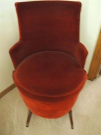 Antique Barrel chair - seat cushion lifts for storage