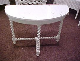 WOODEN HALF TABLE WITH ROPE LEGS