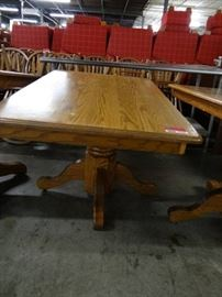 Rectangle 48 Medium Stained Wood Table With Pedes