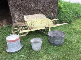Vintage Wheelbarrow and Galvanized Items