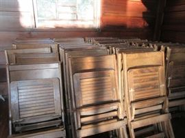 Tons of Heywood Wakefield folding chairs (original to the house)