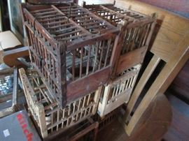 Antique canary coal mine cages