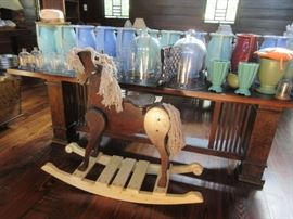 Large rocking horse. bell jars, and Mc Coy pottery