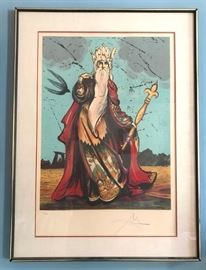 "#2180: Dali, ""Moses"" Signed & Numbered Sought After piece..  ""Moses"", Salvador Dali.  Color Lithograph with mixed media, signed and numbered, Signed 38/150.  Certificate of Authenticity, Ferdinand Roten Galleries.  35"" x 25.5"""