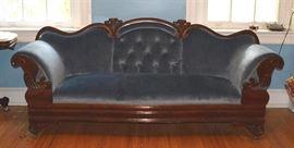 "#2171: Gorgeous Victorian Blue Velvet Sofa Gorgeous antique Victorian, carved sofa with luxurious blue velvet fabric.  87""L x 26""D x 20""H"