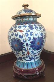 "#2257: Colisonne, Gorgeous temple jar with metal work on stand Colisonne, Gorgeous temple jar with the metalwork on hand carved pedestal display stand.  Jar, 6"" Pedestal, 1.25""H"