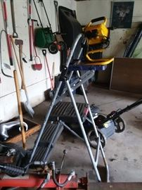 Ladders, lamps, all sorts of tools and garden equipment