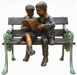 Kids on Bench Bronze