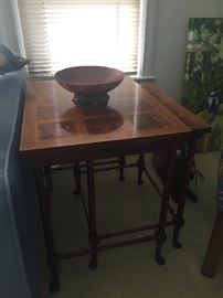 Nesting tables - walnut inlay and mahogany