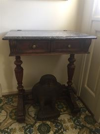 Walnut and marble entryway table