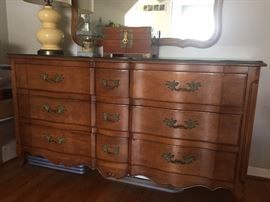 Bowfront 9 drawer dresser - cherry wood with mirror