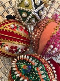 Handmade beaded ornaments from the 1970's