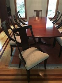 Ten Sloped Arm Dining Chairs, 'Surfboard' Rosewood Danish Dining Table with Splayed Legs