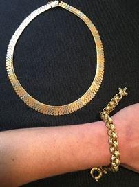 18K Necklace, 18K Chunky Bracelet
