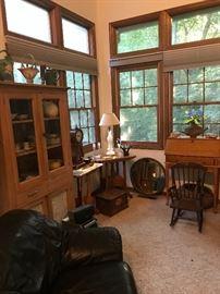 Antique furniture, Roseville pottery,