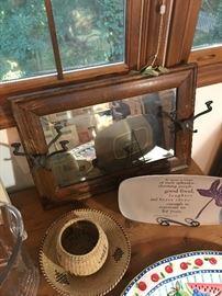 Antique mirror, baskets, platters