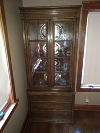 Ethan Allen Royal Charter library unit (c.1976). Dark oak. Sorry, silver not included--but available for separate sale.