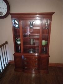 Mahogany china cabinet. 1940s. Original finish. Contents not included, but available for sale.