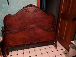 Victorian bedroom set. Original finish. Full-size headboard, footboard, & side rails, night stand, tall chest of drawers, and dresser with mirror. See next 3 pix.