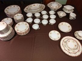 Vintage china 10 complete place settings, many extras, & serving pieces.