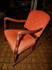 1940's Child Size upholstered Rocker. Has Original Orange Sculpted Fabric