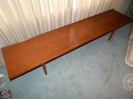 """Declaration by Drexel"" Bench/Table -Mid Century Modern Purchased in 1965 and is in mint Condition. there are three end tables as well."