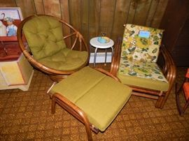 Set: Vintage Bamboo Orb Chair, Arm Chair with Original Reversible Cushions and Footstool. Matches 3 Cushion Sofa