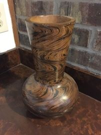 Very unusual wooden hand carved vase