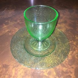 Uranium glass cup and plate