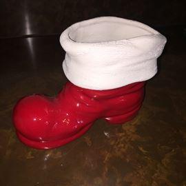 Ceramic Christmas boot planter