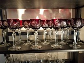 Red Crystal cut to clear Wine Goblets