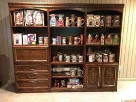 3 Unit Shelving w covered cabinets/drawers & drop down writing feature very nice for any display