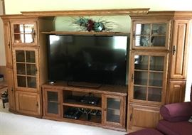 "Aspen Left/Right Media Pier w Bridge lighting & 62"" TV Stand-Like New-Excellent shape can be used seperately or one unit. PD $2150 NBF"