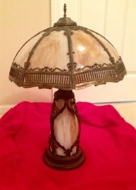 Antique Art Noveau Panel Lamp w slag glass shade & base-highlighted in ornate brass