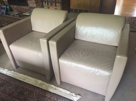 Pair of Leather Arm Chairs - modern