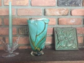 Pewabic  pottery and signed glass vase