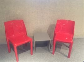 modern side chairs - red and center cube side table - grey