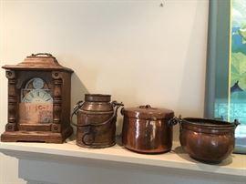 Antique copper lunch pails, pots and more!