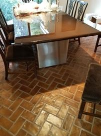 CONTEMPORARY BROWN LACQUER AND CHROME BASE DINING ROOM TABLE. CUSTOM MADE