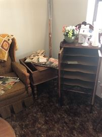 MID CENTURY TABLES AND ANTIQUE SHEET MUSIC  CABINENT