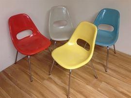 Vintage MCM fiberglass chairs by Krueger