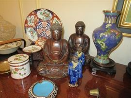 Cloisonne, bronze Buddhas etc