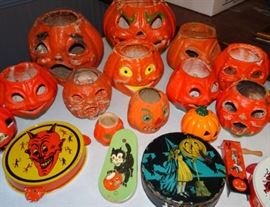 Collection of Halloween Items, Paper Mache Jack O Lanterns, Noisemakers