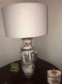 19thC Chinese famille verte vase lamp