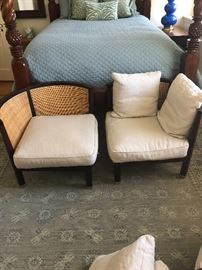 Flexform corner chairs, cane back and down cushions