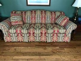 "#22Hammary Burgundy/Green/Cream Sofa  90"" Long $125.00"
