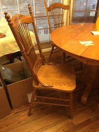 """#52 wood table/4chairs 47""""round x 37""""  $175"""