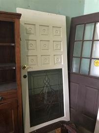 #6white door w cut glass 36x2x80.5 $175.00  #7brown door w window 31.5x79.5 $100.00